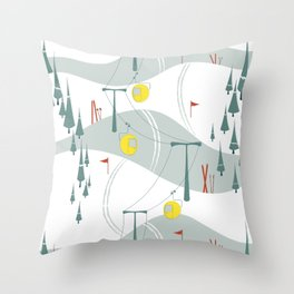 Retro Ski Throw Pillow