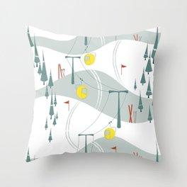 Retro Ski Throw Pillow