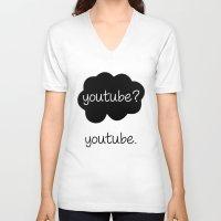 youtube V-neck T-shirts featuring YouTube? by samonstage_lyrics