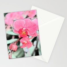 Lovely pink orchid flower color pencil sketch. floral photo art. Stationery Cards