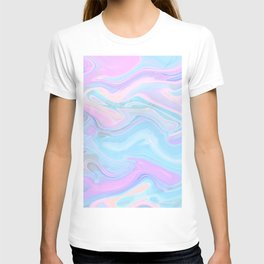 Sea Marble Candy Pattern - Violet, Aqua and Blue T-shirt