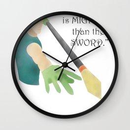 pen is mightier Wall Clock