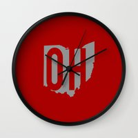 ohio state Wall Clocks featuring Ohio State Pride by Jessica C