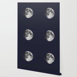 Waxing Gibbous Moon on Navy Wallpaper