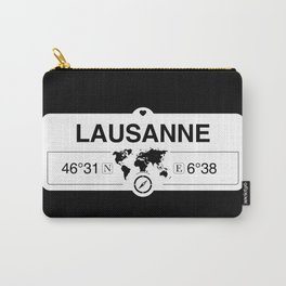 Lausanne Vaud GPS Coordinates Map Artwork with Compass Carry-All Pouch