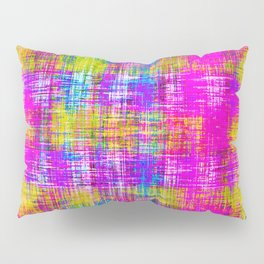 plaid pattern painting texture abstract background in pink purple blue yellow Pillow Sham