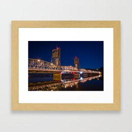 Stillwater MN Lift Bridge at Night Framed Art Print