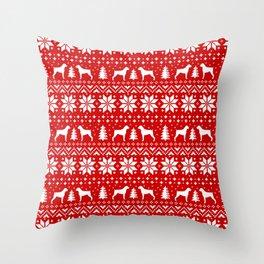 Boxer Dog Silhouettes Christmas Sweater Pattern Throw Pillow