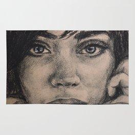 Watercolor portrait brunette girl. Girl passion. Rug