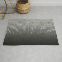Silver Glamour Faux Glitter on grey Texture Rug