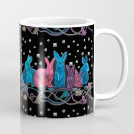 Jewel Tone Bunnies with Trompe L'oeil Studs and Tassels Coffee Mug