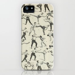Kickboxing Fighting Moves Vintage French Encyclopedia Illustration iPhone Case