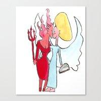 lesbian Canvas Prints featuring Angel/devil lesbian kiss by Nehalennia