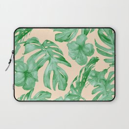 Tropical Coral Green Leaves Flower Pattern Laptop Sleeve