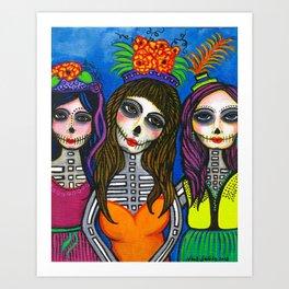 Las Tres Catrinas Art Print