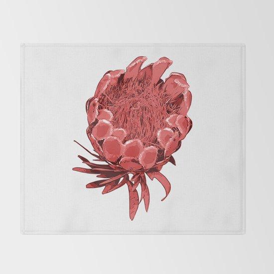 Australian Native Floral Illustration Beautiful Protea Flower Throw Blanket By Annaleebeer Society6