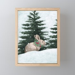Winter Bunny Framed Mini Art Print