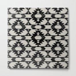 Black and neutral brushed tribal kilim pattern Metal Print