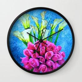 Calla Lillies and Roses Wall Clock