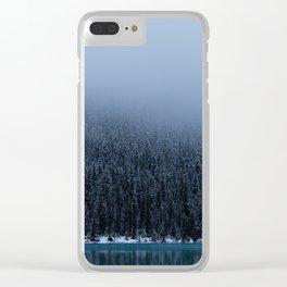 Foggy Lake Louise Shoreline Clear iPhone Case
