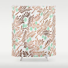 Olive Branches – Rose Gold & Mint Shower Curtain