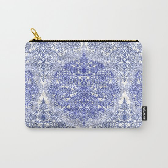 Happy Place Doodle in Cornflower Blue, White & Grey Carry-All Pouch