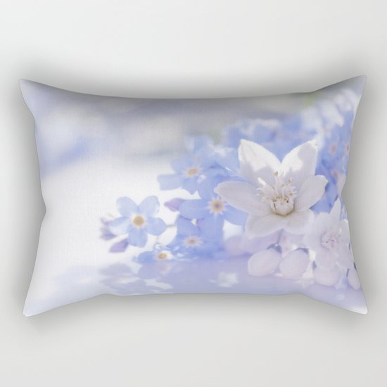 Queen and court- Springflowers in blue and white - Stilllife Rectangular Pillow