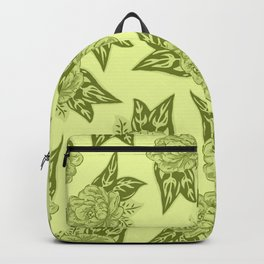 Cabbage Roses in Chartreuse Backpack
