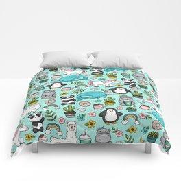 Narwhal and Friends, Emoji Tween Print, Pre-teen Girls, Unicorns, Panda, Llamas and Doughnuts Comforters