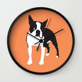 BOSTON TERRIER - Orange Wall Clock