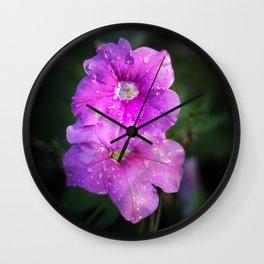 Wet Purple Impatiens Wall Clock