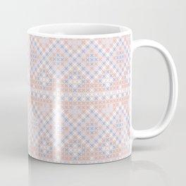 Vintage blush pink blue white cross stitch pattern Coffee Mug