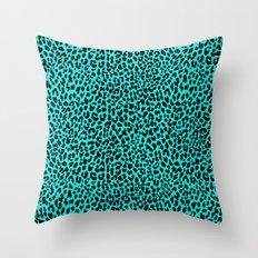 Neon Turquoise Leopard Throw Pillow