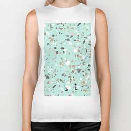 Glitter and Grit Marble Mint Green Biker Tank