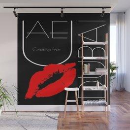 Greetings from Dubai Red Lipstick Kiss Wall Mural