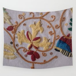Elizabethan Embroidery Honeysuckle and Butterfly Wall Tapestry