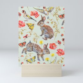 Bunny Meadow Pattern - Green Mini Art Print