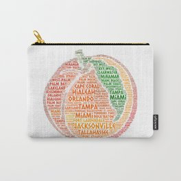 Peach Fruit illustrated with cities of Florida State USA Carry-All Pouch