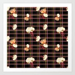 Cute tartan text based print - love text tartan print Art Print
