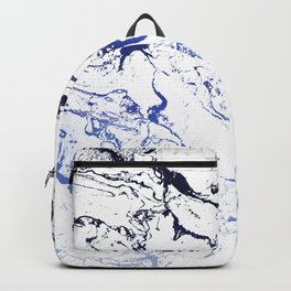 Modern white marble blue ombre navy blue watercolor gradient fade Backpack