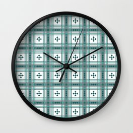 Preppy Plaid in Teal, Gray and White Wall Clock