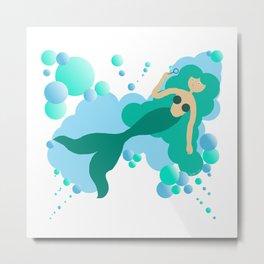 Mermaid blowing bubbles Metal Print