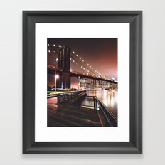 nyc skyline on night Framed Art Print