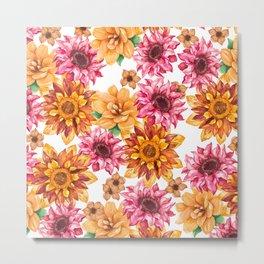 Orange magenta brown hand painted watercolor floral Metal Print