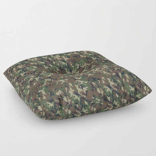 Woodland Forest Camouflage Pattern Floor Pillow