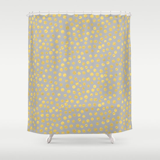 DOT PATTERN Gray And Gold Shower Curtain By PAVLOVA Society6