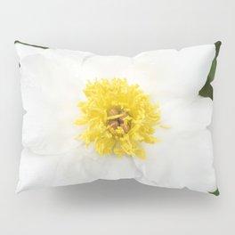 White Krinkled Peony Flower Pillow Sham