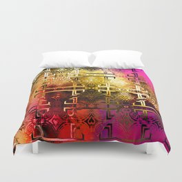 1001 Lights Pattern (gold-magenta-vermillion) Duvet Cover