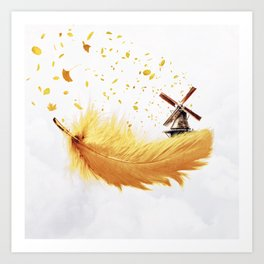 Air Feather • Yellow Feather (horizontal) Art Print