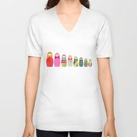 russian V-neck T-shirts featuring Russian Dolls by malobi